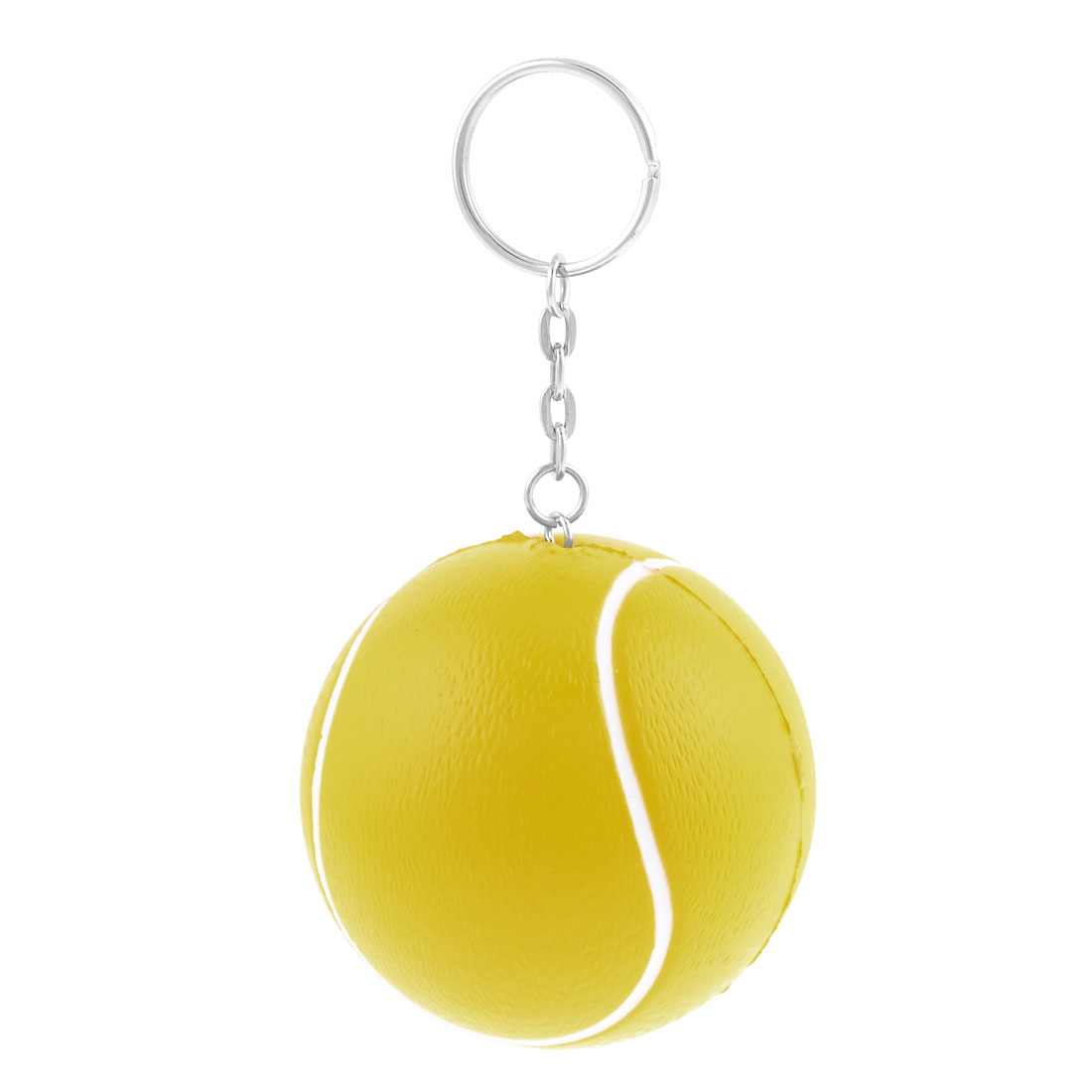 Yellow Elastic Foam Tennis Ball Decor Link Chain Keyring