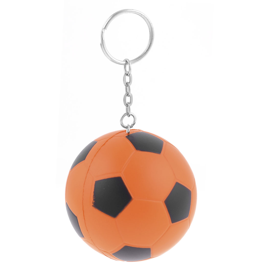 Orange Black Soccer Ball Silver Tone Link Chain Keyring