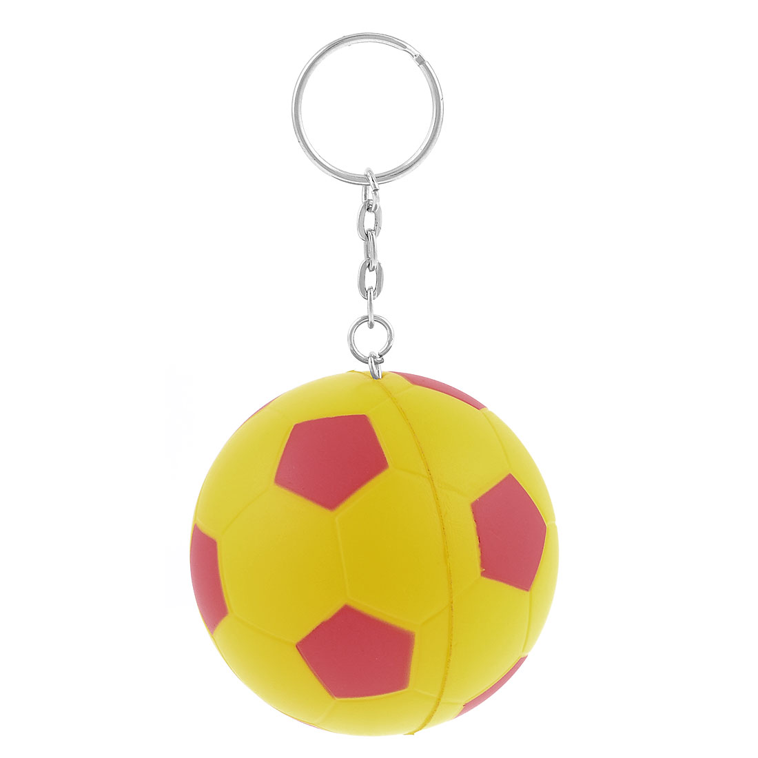 Yellow Red Elastic Foam Soccer Ball Football Decor Key Chain Keyring