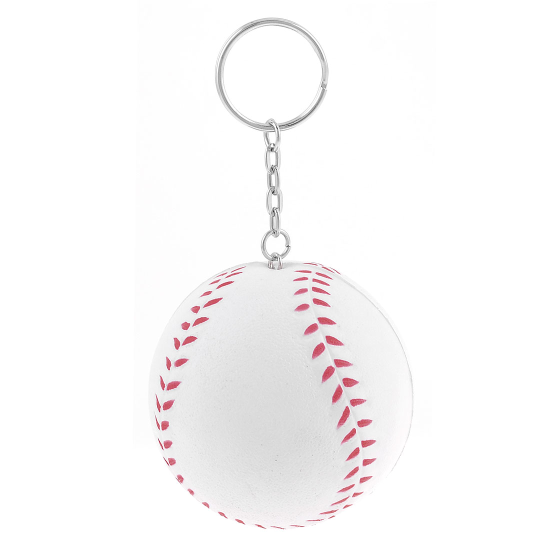 White Red 6cm Dia Baseball Shape Lucky Charm Link Chain Key Ring