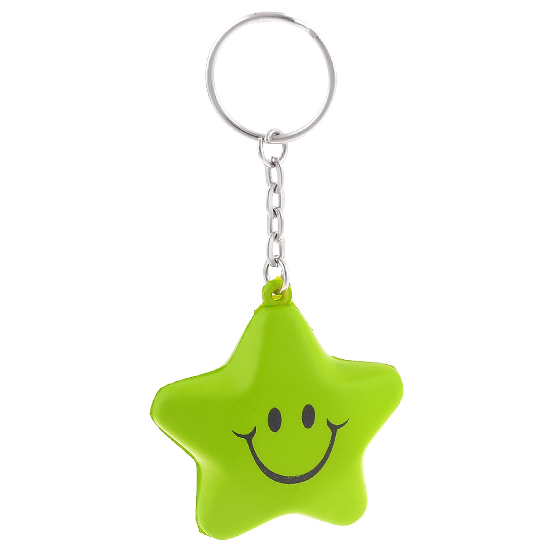 Green Elastic Foam Star Shape Silver Tone Split Key Ring