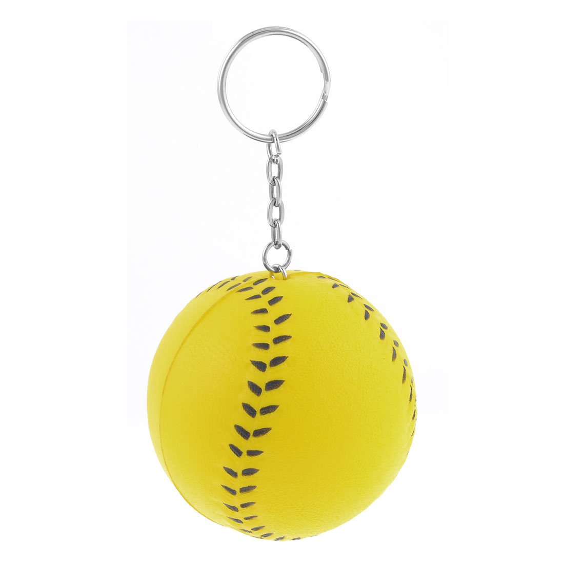Yellow 6cm Dia Baseball Shape Decor Keychain Keyring
