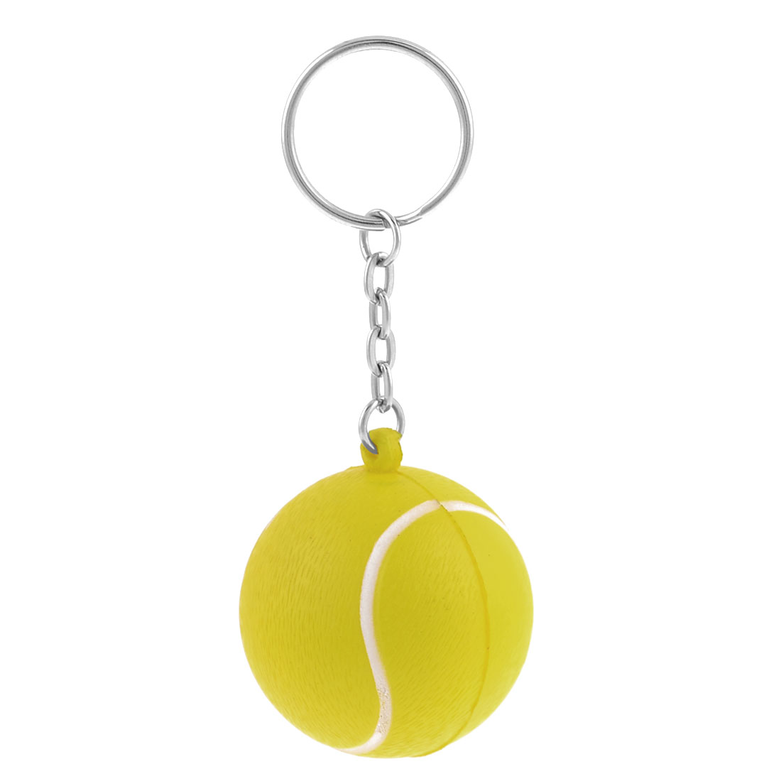 Elastic Foam Tennis Ball Shape Pendant Key Chain Keyring Yellow Silver Tone 4cm Dia