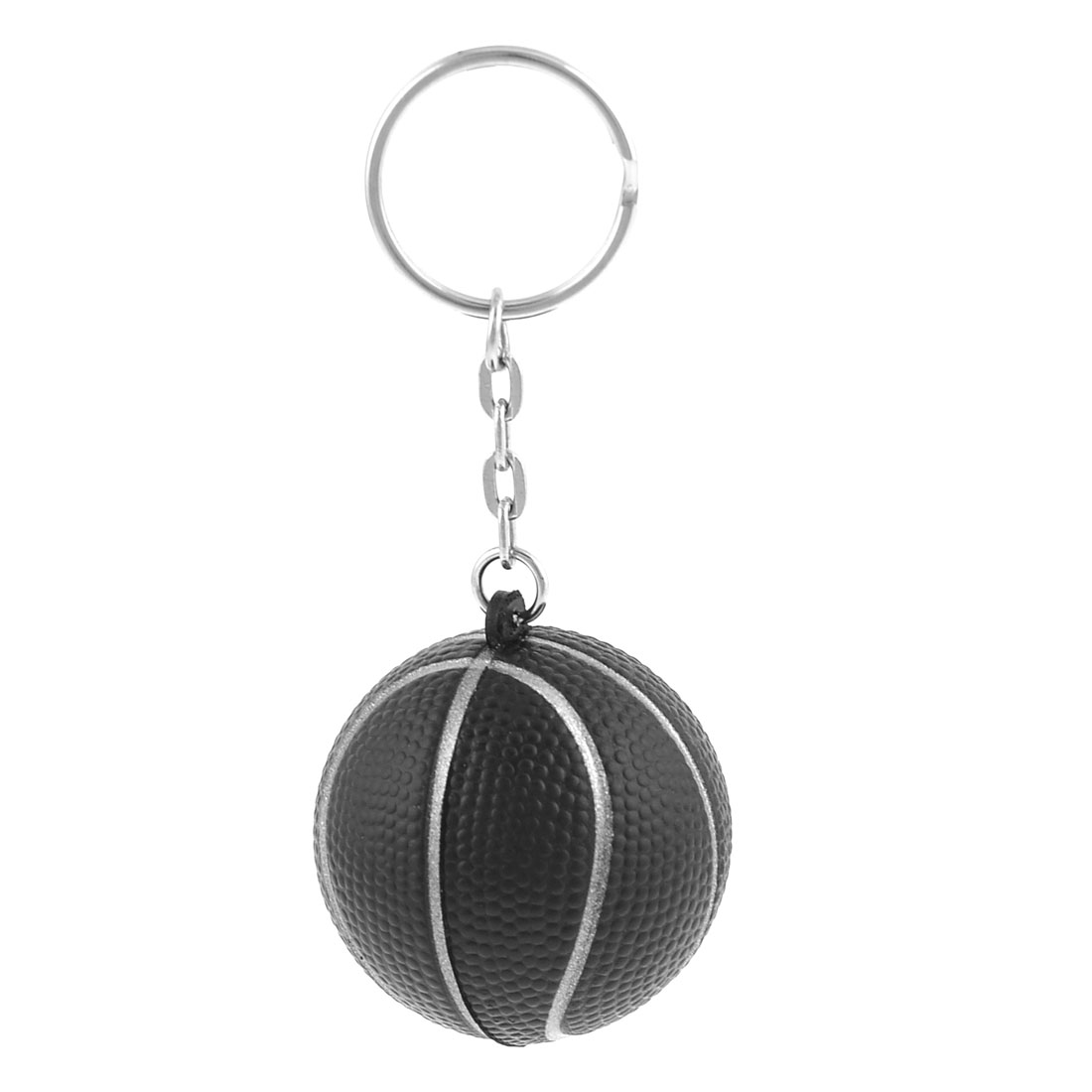 Elastic Foam Basketball Shape Decoration Keyring Black 4cm Dia for Bag Car