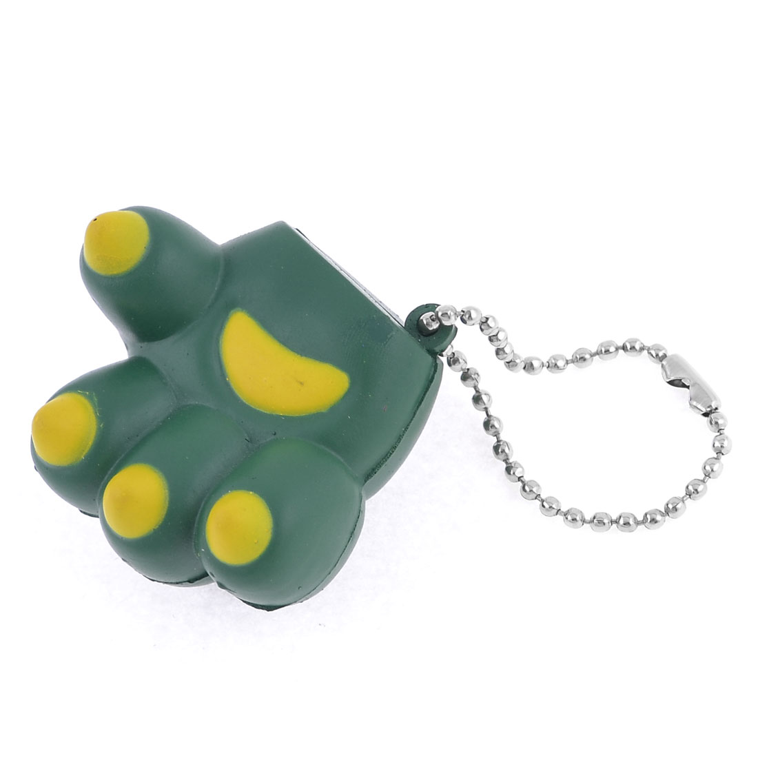 Green Yellow Claw Shape Decor Silver Tone Bead Chain
