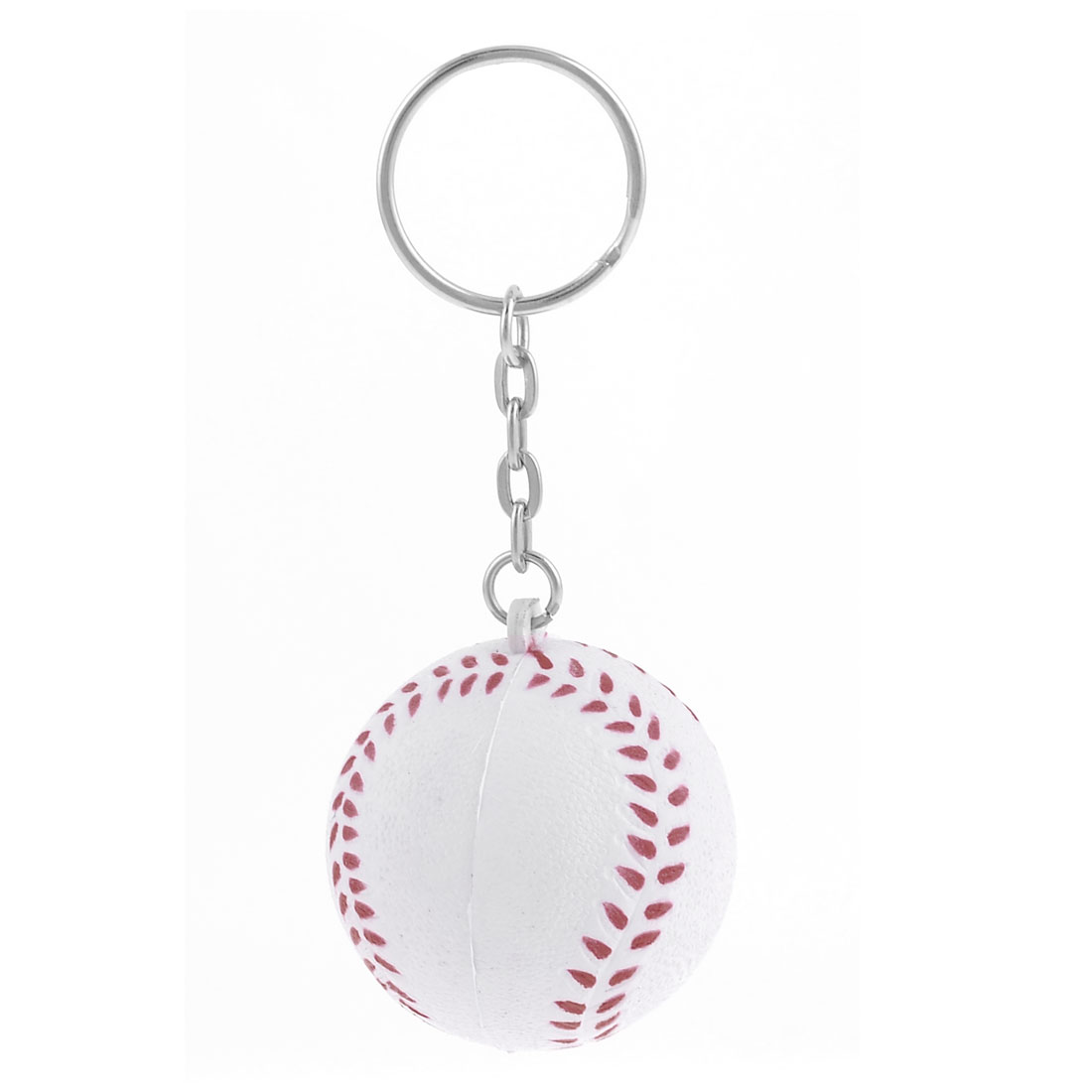 White Red 4cm Diameter Baseball Shape Decor Charm Key Ring