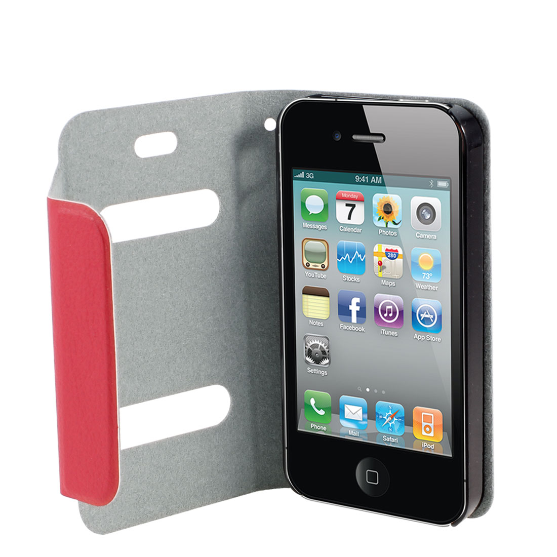 Red PU Leather Protective Magnetic Closure Flip Case Cover for iPhone 4 4G 4S