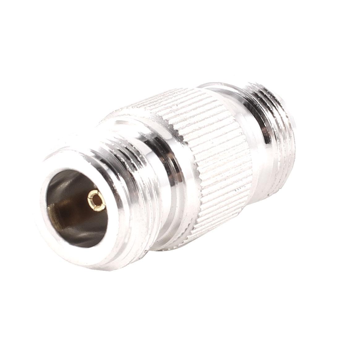 Silver Tone N Female Jack to N Female Plug RF Coaxial Connectors