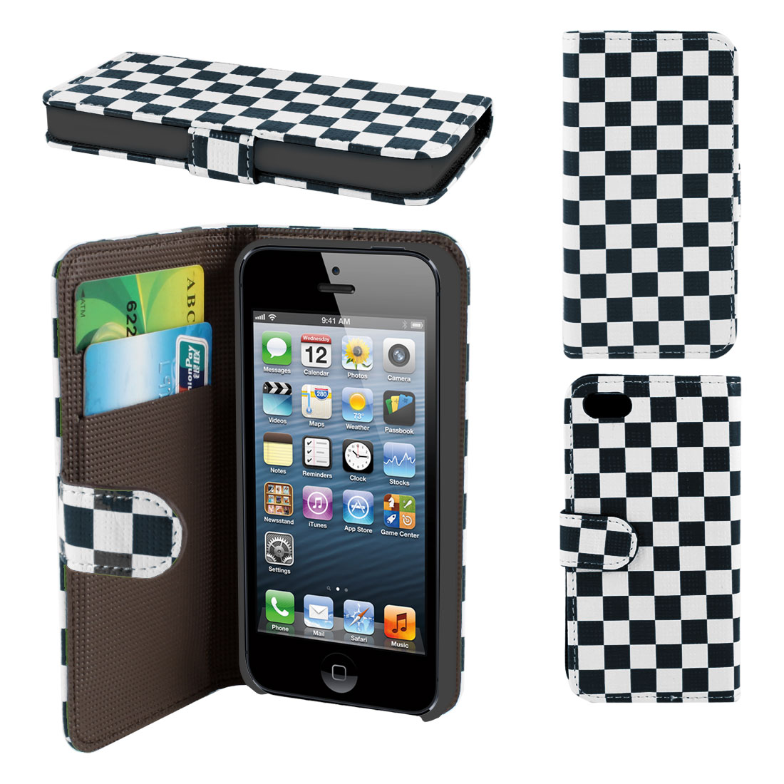 White Navy Blue Check Pattern PU Leather Card Holder Flip Case Cover for iPhone 5 5G 5th