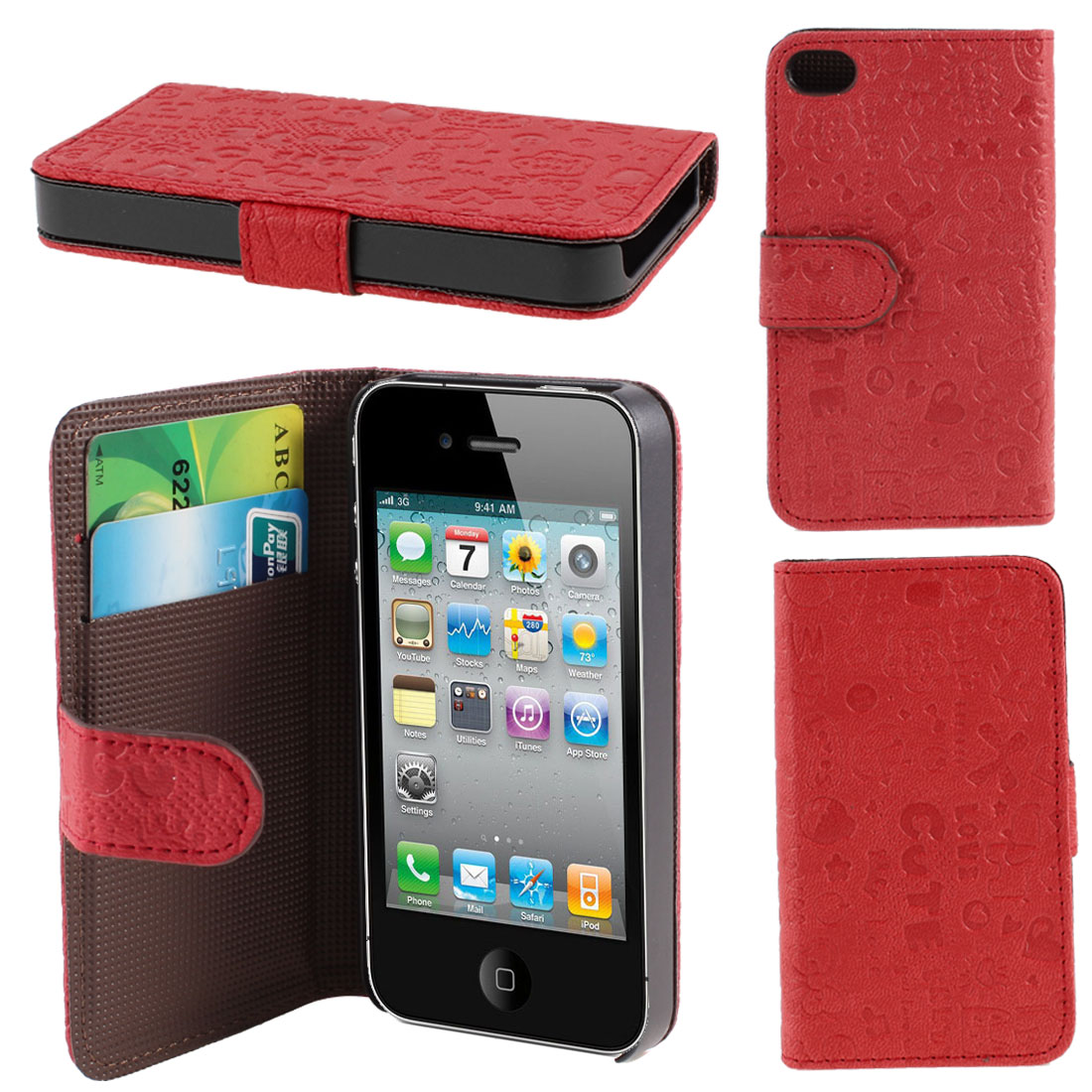 Red Cute Faerie PU Leather Card Holder Wallet Case Cover for iPhone 4 4S 4G 4GS