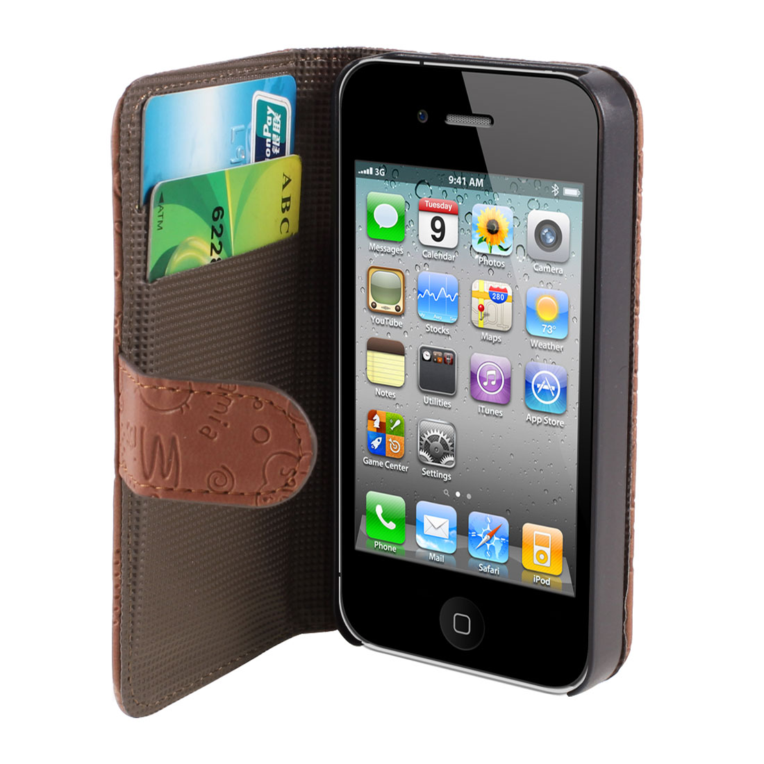 Brown Flip Folio Cute Faerie PU Leather Case Cover for iPhone 4 4S 4GS 4G 4th