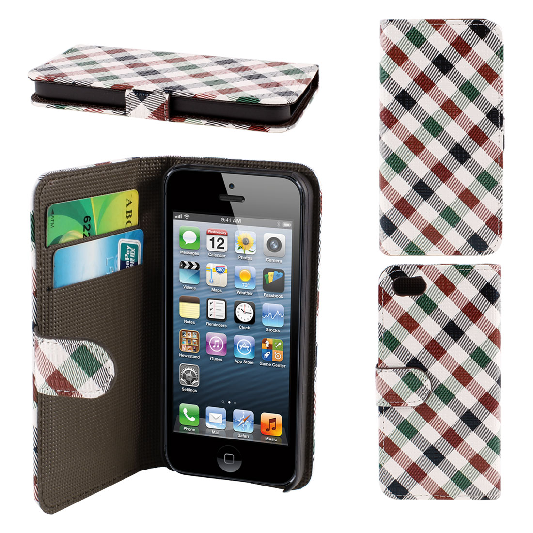 Plaid Print Red Green PU Leather Flip Folio Case Cover Pouch for iPhone 5 5G 5th