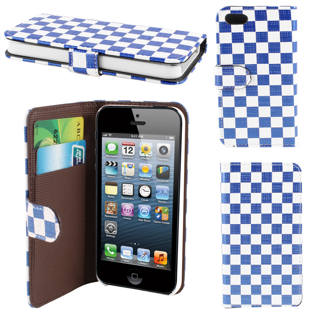 White Blue Check Print PU Leather Card Holder Flip Case Cover for iPhone 5 5G 5th