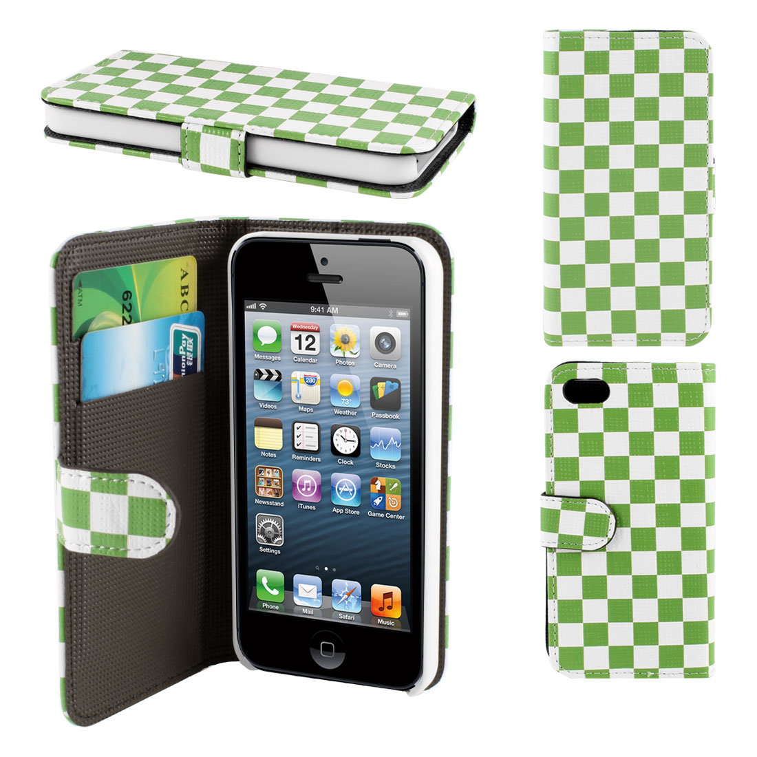 White Green Grid Print Flip Pouch Wallet Case Cover for iPhone 5 5G 5th Gen