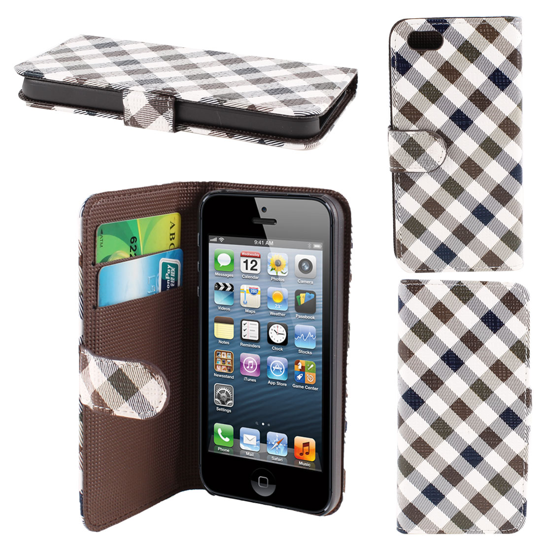 Colors Check Print PU Leather Card Holder Flip Case Cover for iPhone 5 5G 5th