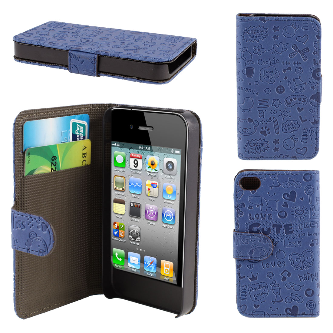 Blue Cute Faerie PU Leather Flip Wallet Case Cover for iPhone 4 4S 4GS 4G 4th