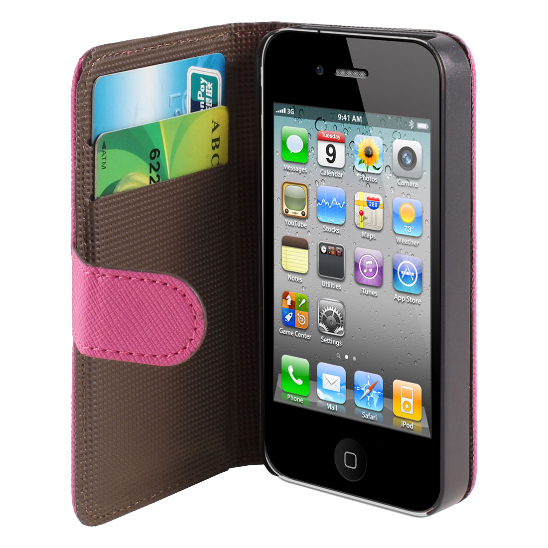 Fuchsia Textured PU Leather Magnetic Flip Case Cover for Apple iPhone 4 4S 4GS 4G