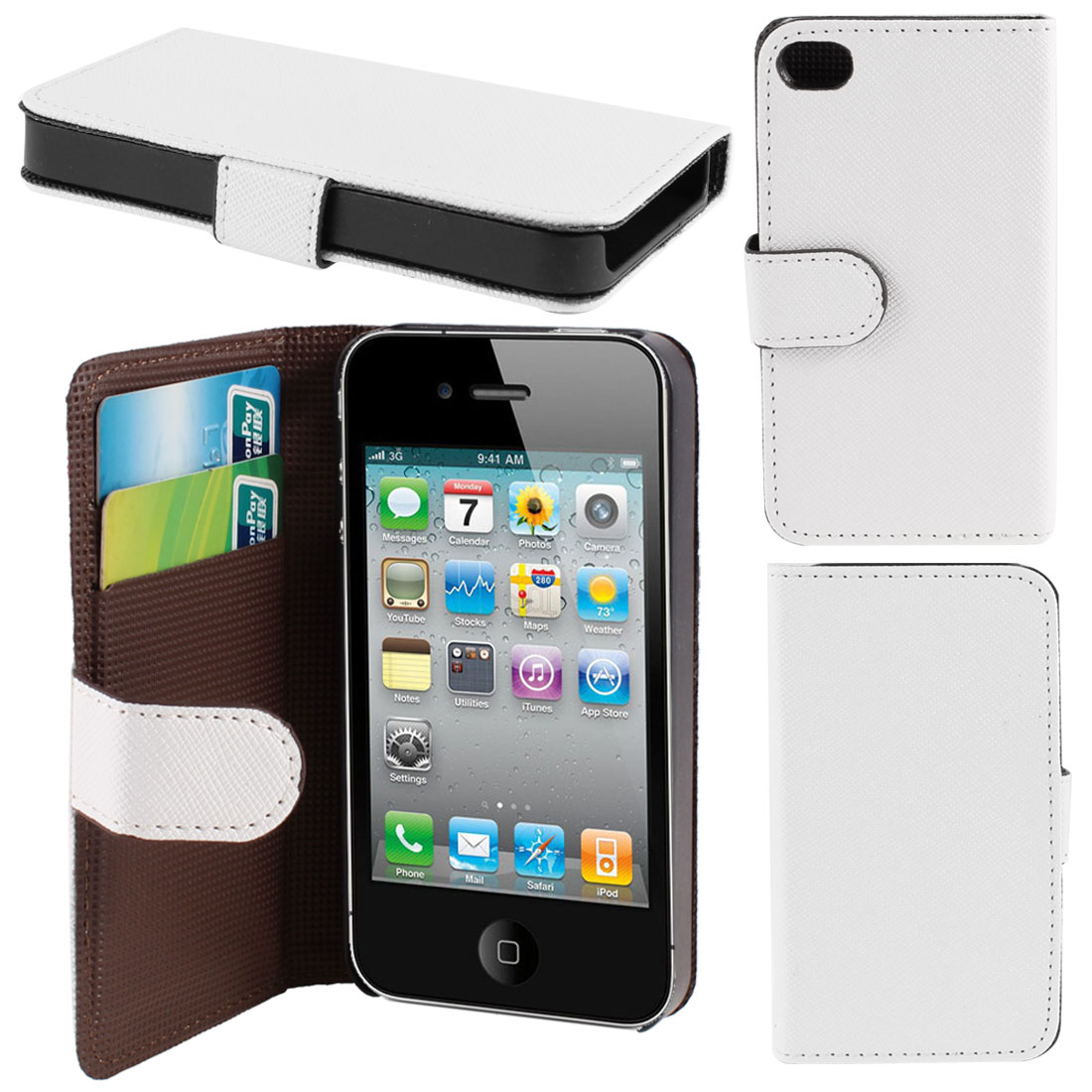 White Textured PU Leather Card Holder Wallet Case Cover for iPhone 4 4S 4GS 4G