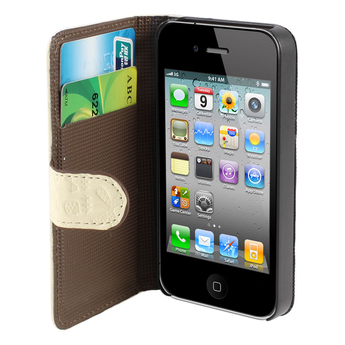 Beige Flip Folio Cute Faerie PU Leather Case Cover for iPhone 4 4S 4GS 4G 4th