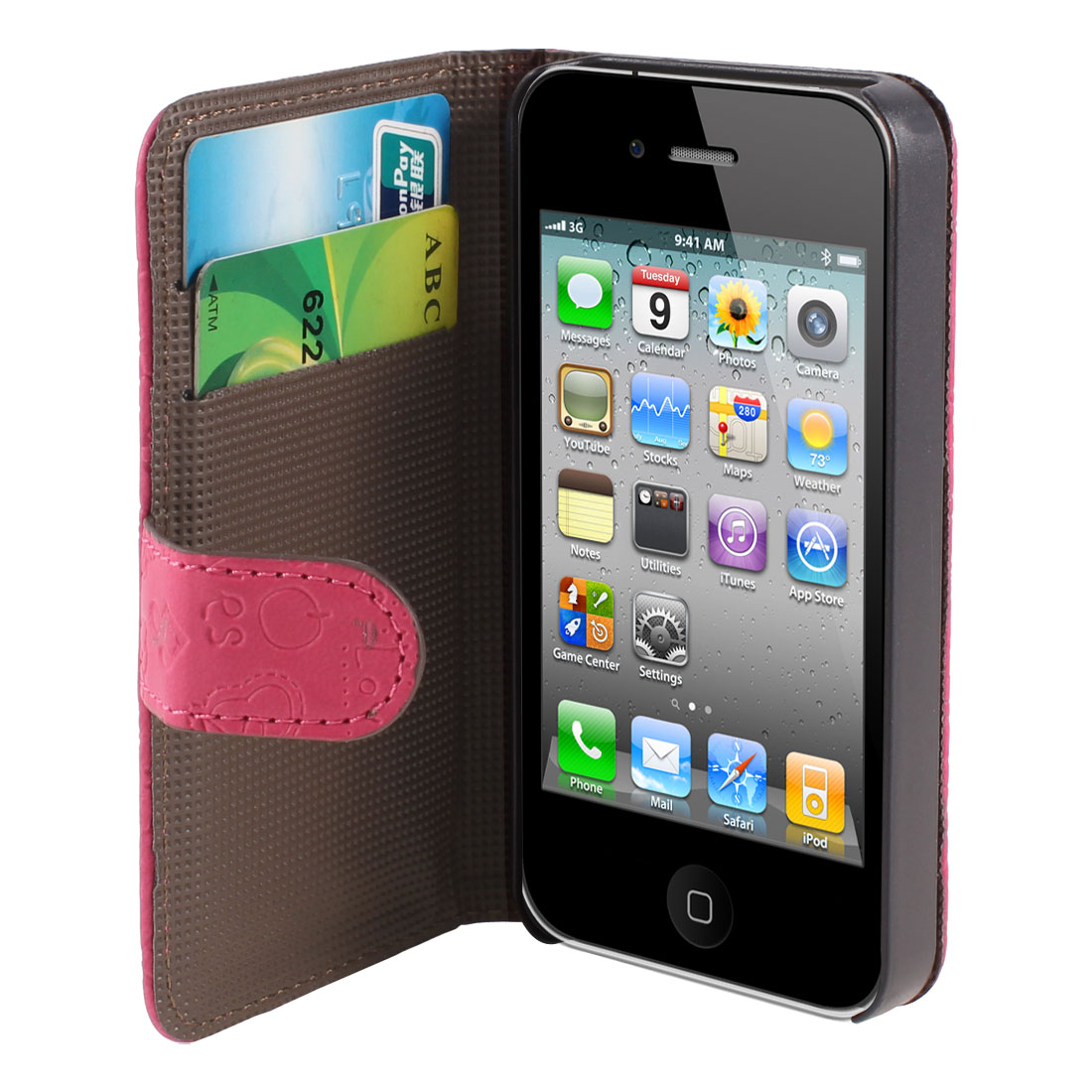 Fuchsia Cute Faerie PU Leather Flip Wallet Case Cover for iPhone 4 4S 4GS 4G 4th