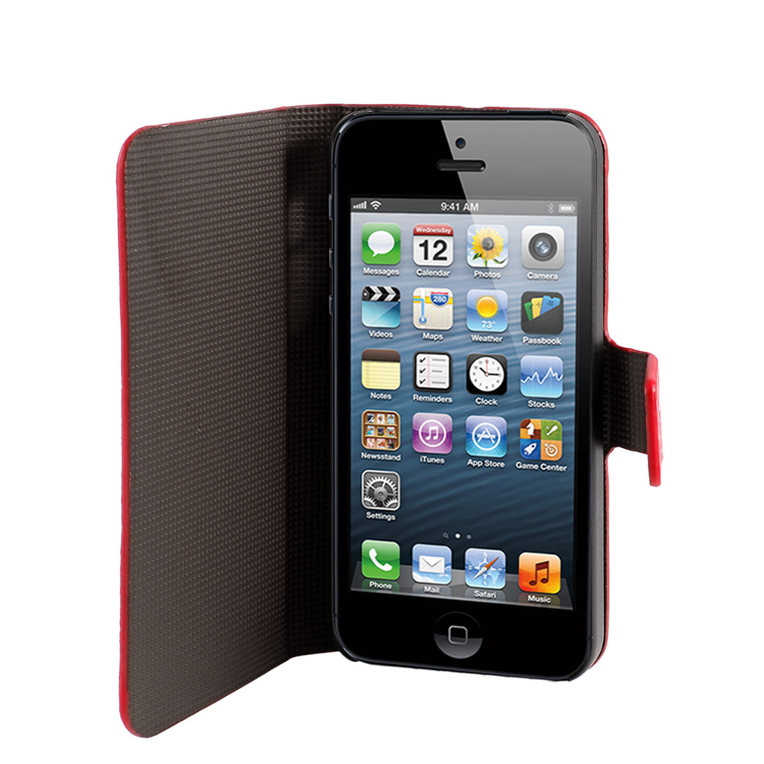 Red Lightning Pattern PU Leather Flip Case Cover Guard for iPhone 5 5G 5th