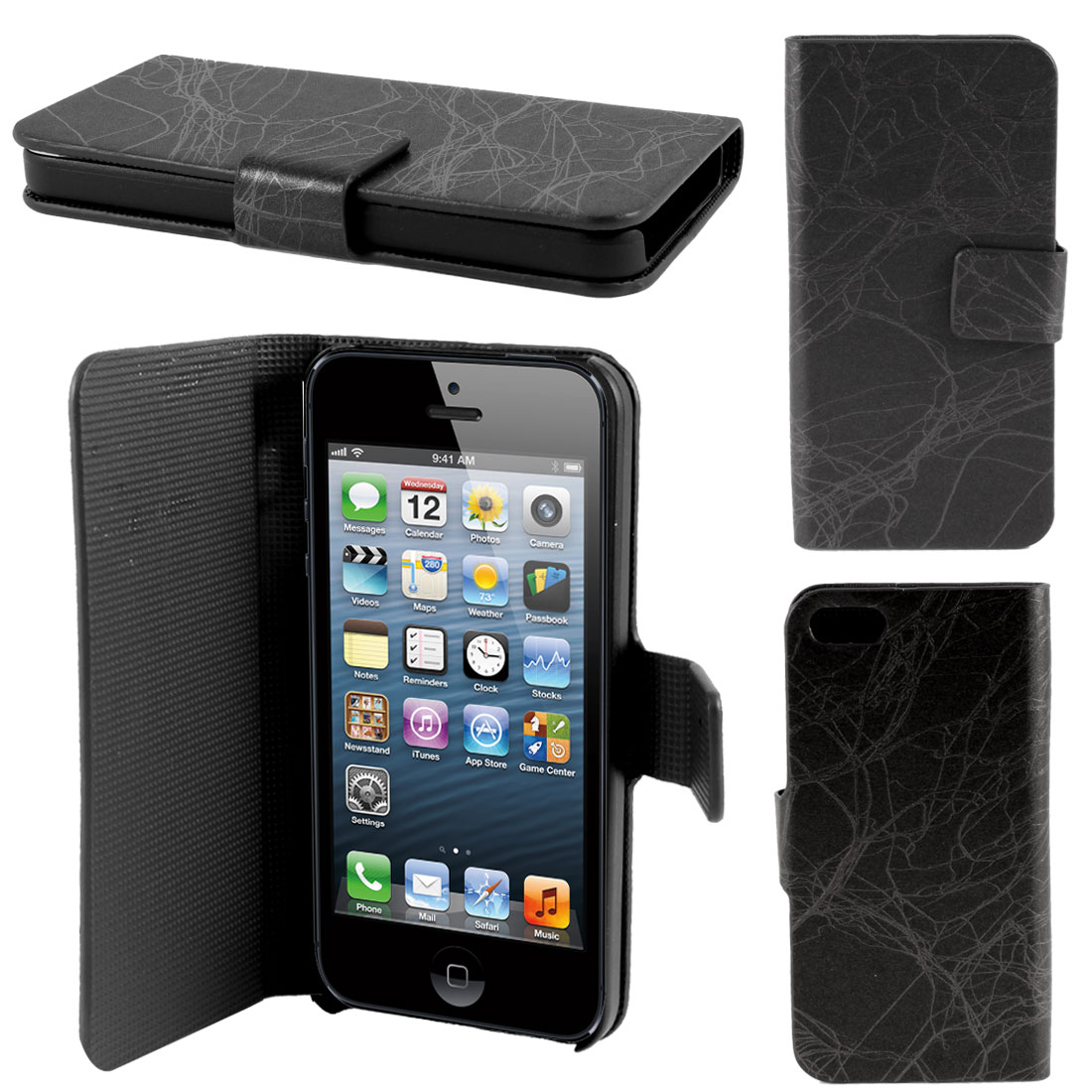 Black Lightning Print PU Leather Flip Case Cover Protector for iPhone 5 5G 5th