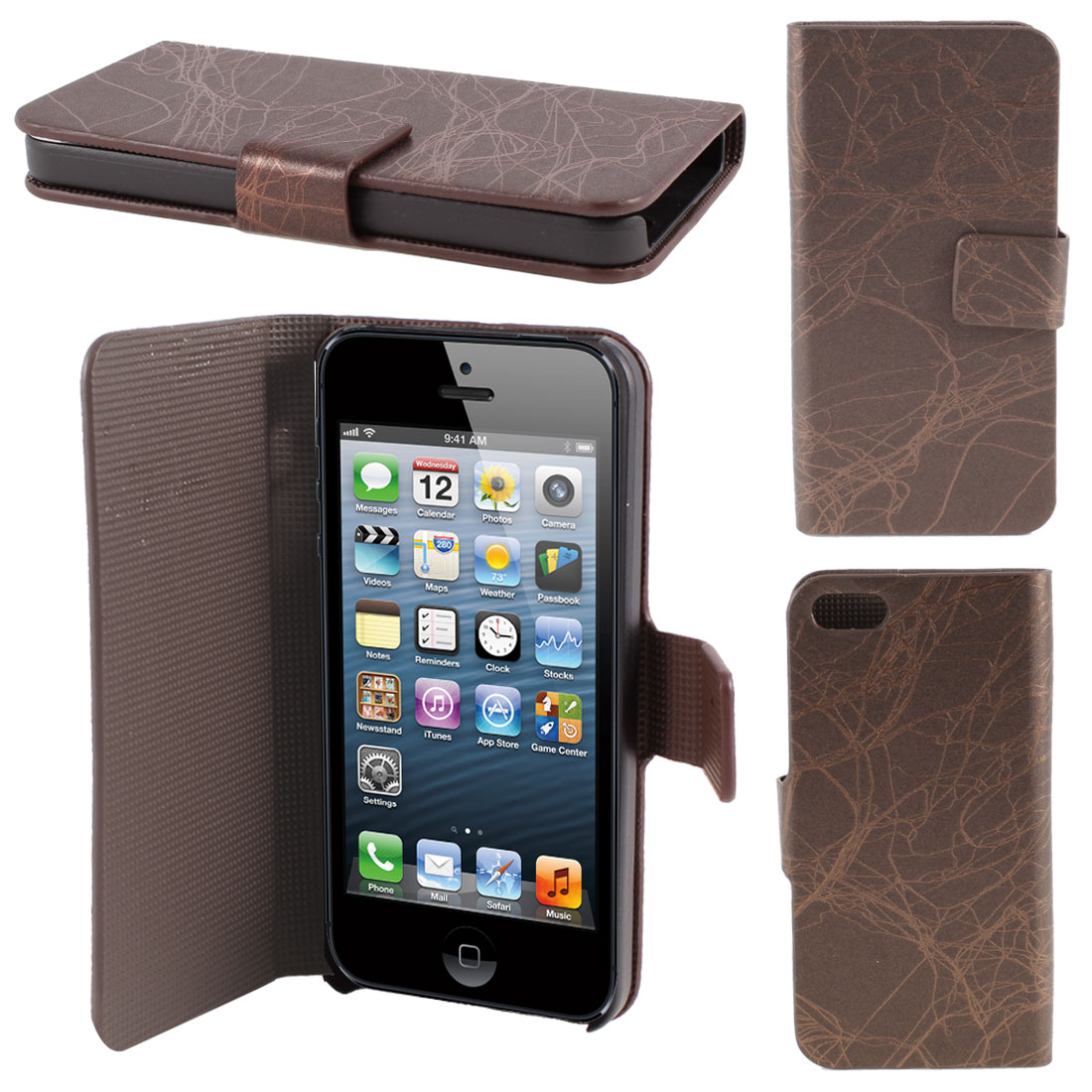 Brown Lightning Print PU Leather Flip Case Cover for iPhone 5 5G 5th Gen