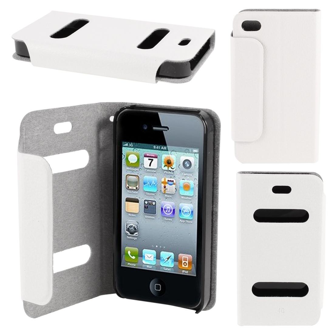 White PU Leather Protective Magnetic Closure Flip Case Cover for iPhone 4 4G 4S
