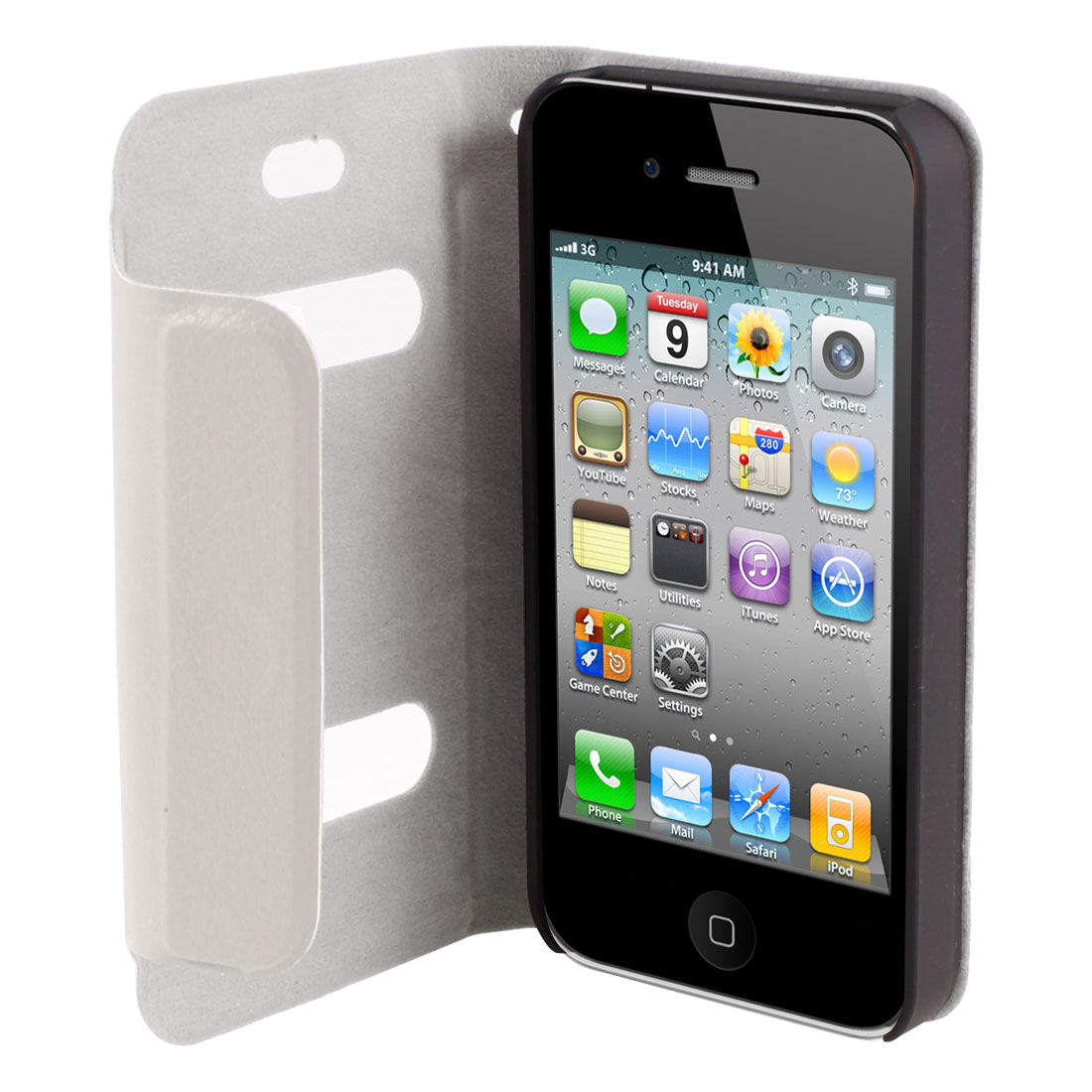 Gray PU Leather Magnetic Flip Hard Case Cover for iPhone 4 4S 4G 4S 4GS 4th