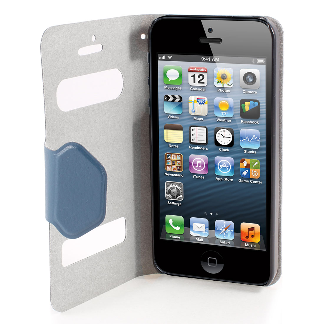 Blue PU Leather Protective Magnetic Closure Flip Case Cover for iPhone 5 5G 5th