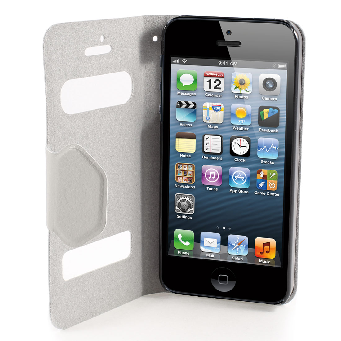 Gray PU Leather Magnet Flip Folio Case Cover for Apple iPhone 5 5G 5th