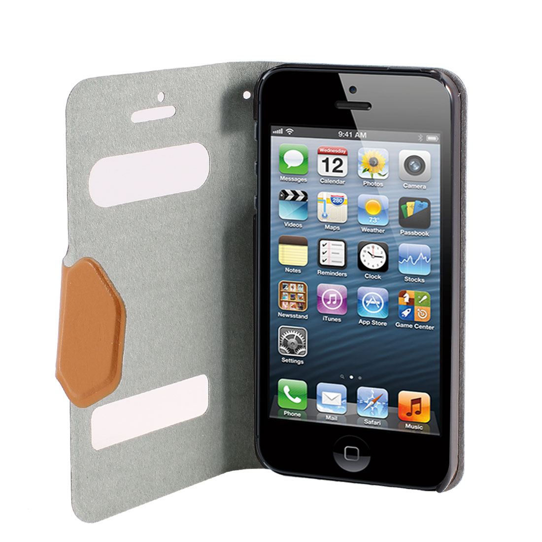 Brown PU Leather Magnetic Flip Hard Case Cover for iPhone 5 5G 5th 5 Gen