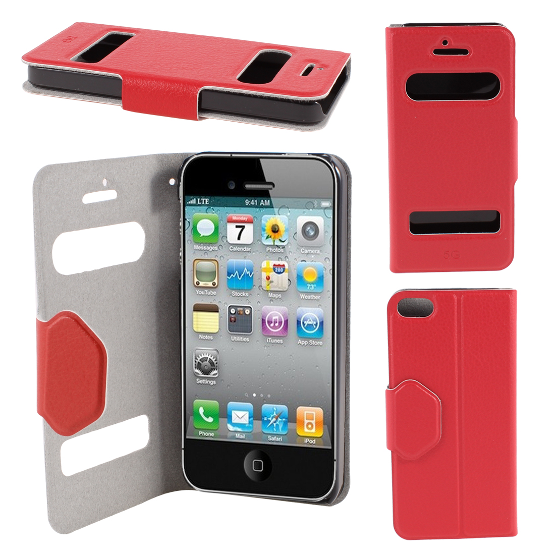 Red PU Leather Protective Magnetic Closure Flip Case Cover for iPhone 5 5G 5th