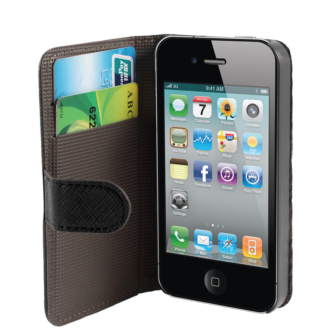 Black Flip Folio Textured PU Leather Case Cover Guard for iPhone 4 4S 4GS 4G 4th