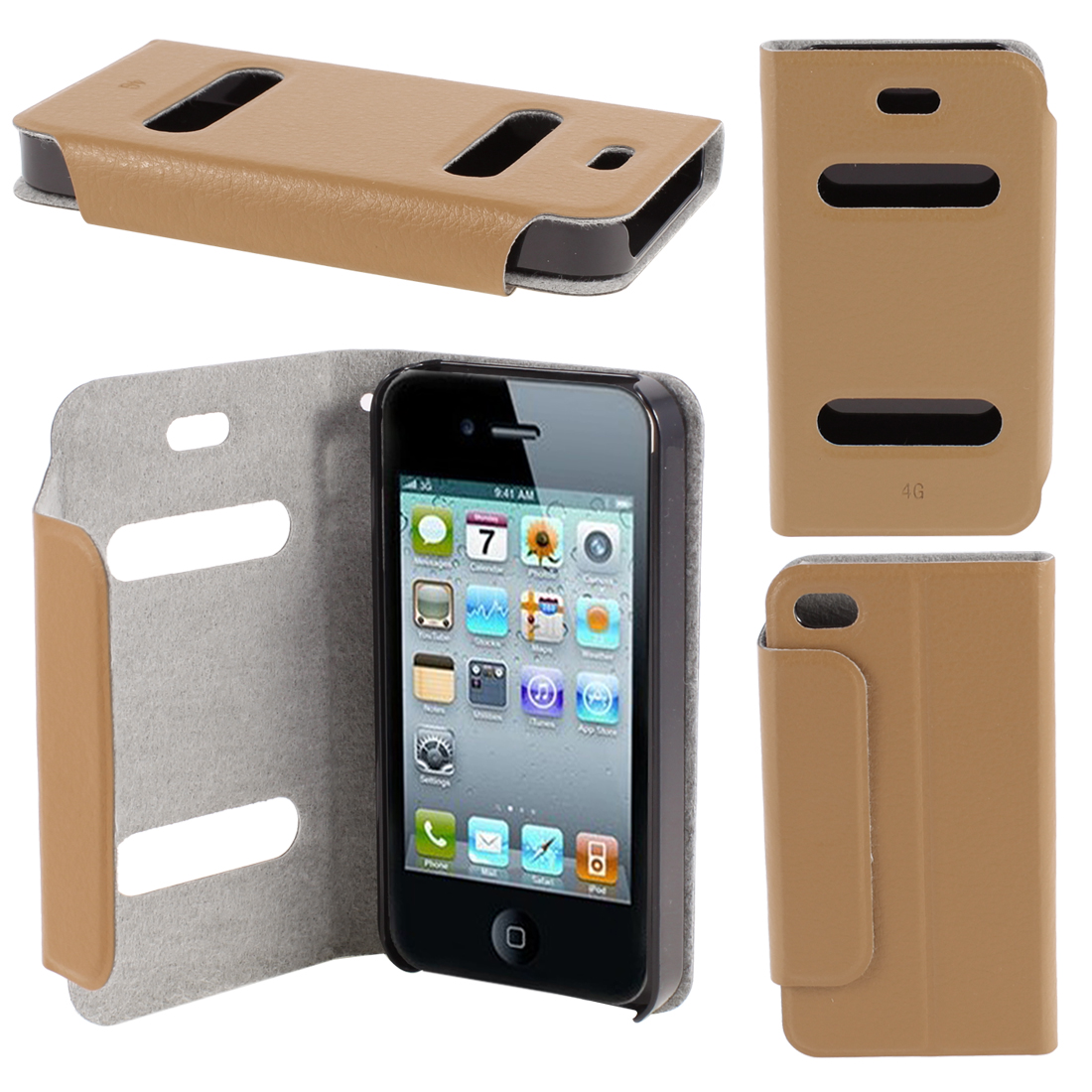 Brown PU Leather Protective Magnetic Closure Flip Case Cover for iPhone 4 4G 4S