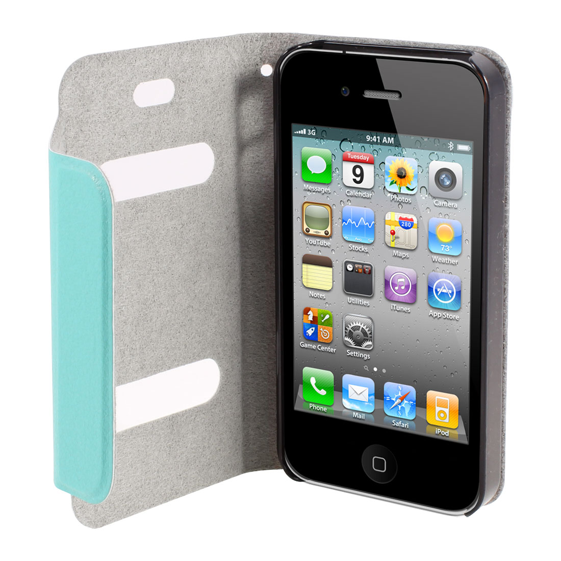 Teal Green PU Leather Magnet Flip Folio Case Cover for Apple iPhone 4 4G 4S 4GS