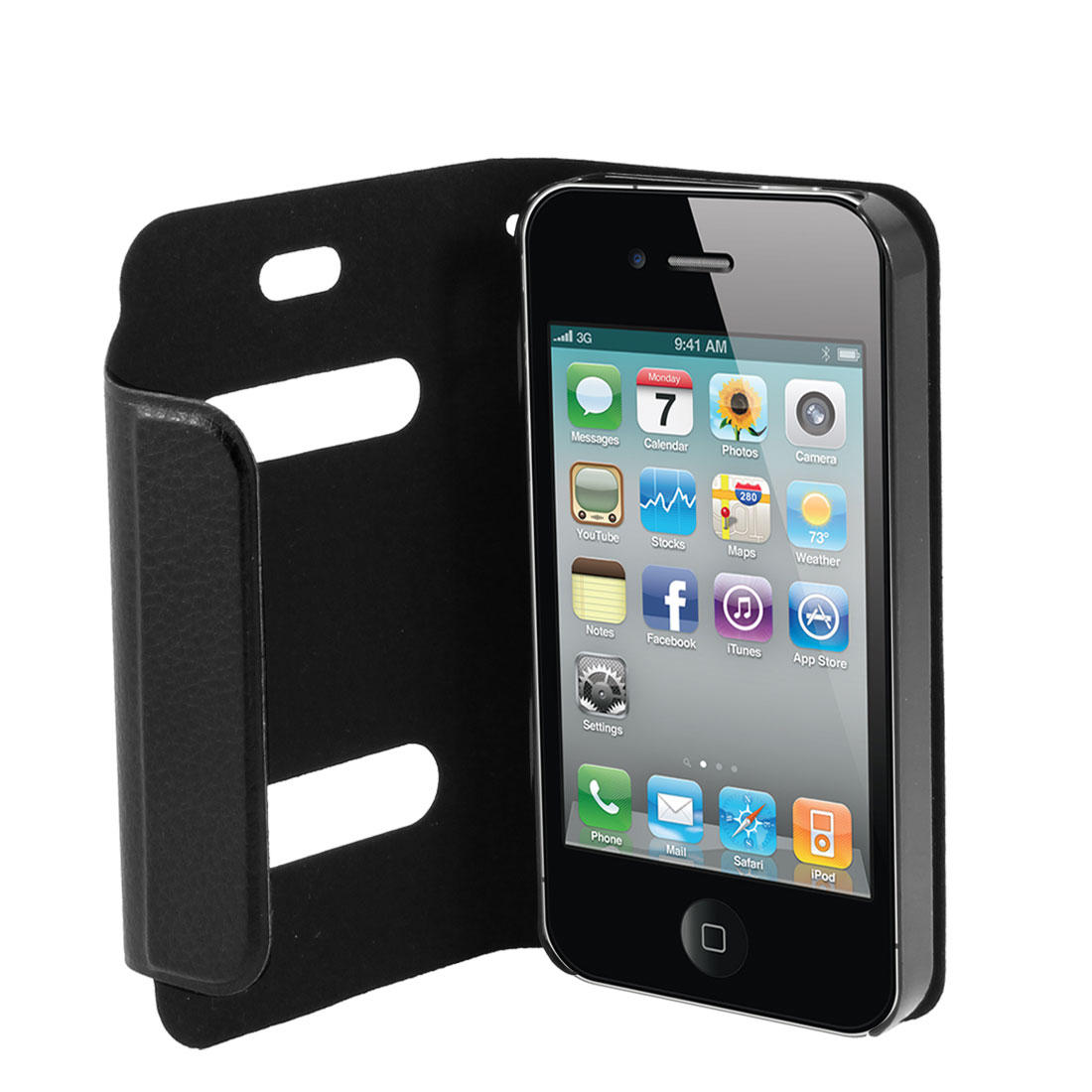 Black PU Leather Magnet Flip Folio Case Cover for Apple iPhone 4 4G 4S 4GS