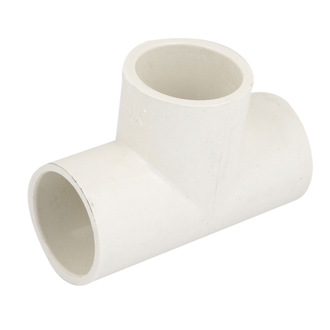 White PVC Tee Type Piping Hose Tube Adapter Connectors Coupler 32mm Diameter
