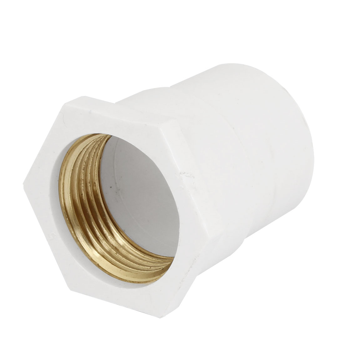 "32mm 1"" PT Female Threaded PVC Straight Pipe Tube Adapter Connector White"