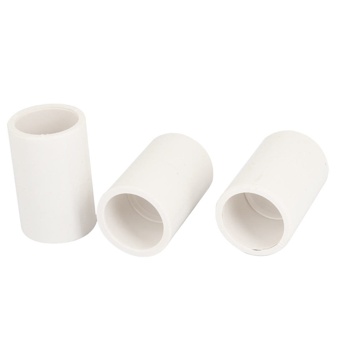 20mm Inner Diameter PVC Straight Pipe Tube Connector Fittings White 3 Pcs
