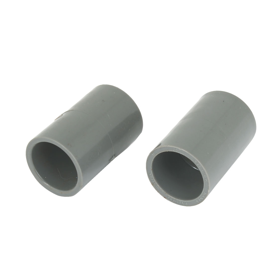 "2pcs Gray 20mm 0.79"" Inner Diameter PVC Drainage Straight Pipe Connectors"