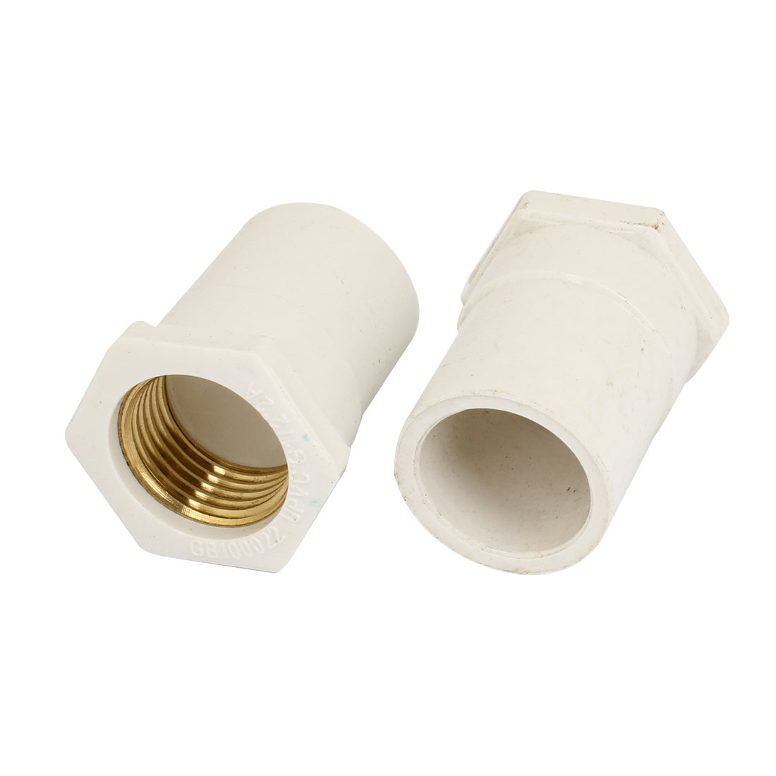 White 20mm Female Thread Straight Water Hose Pipe Fitting Connectors 2 Pcs