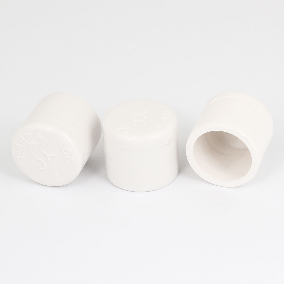 20mm Inner Dia White PVC Hose Tube End Fitting Adapter Caps 3PCS