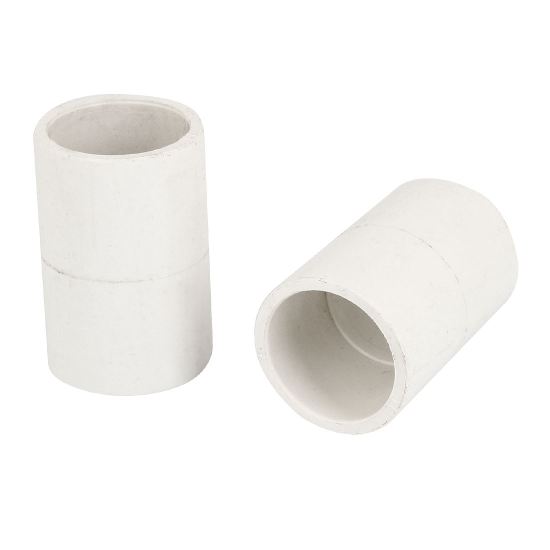 "2pcs White 25mm 0.98"" Inner Diameter PVC Drainage Straight Pipe Connectors"