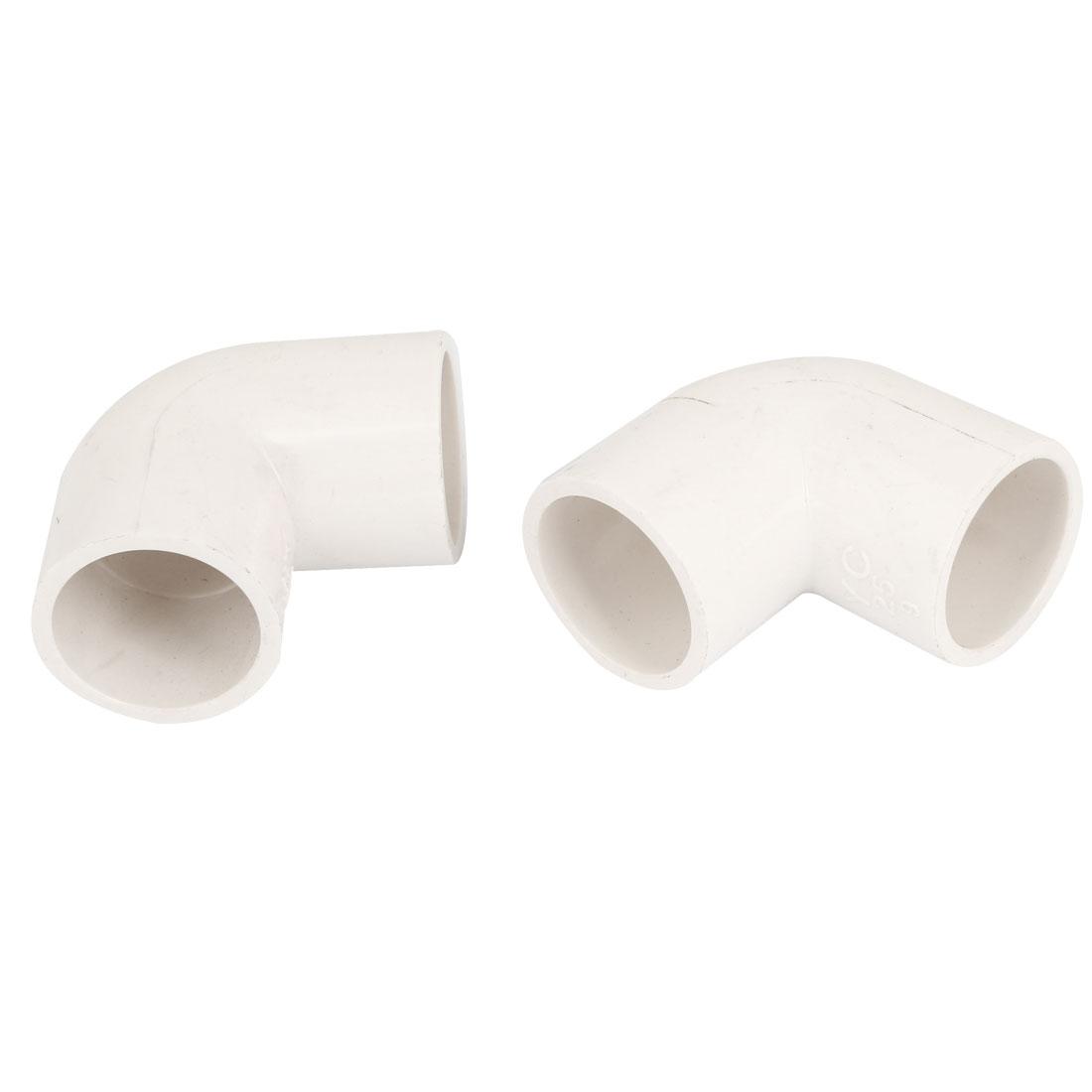 25mm Inner Diameter 90 Degree Elbow PVC Pipe Connector Fittings White 2 Pcs