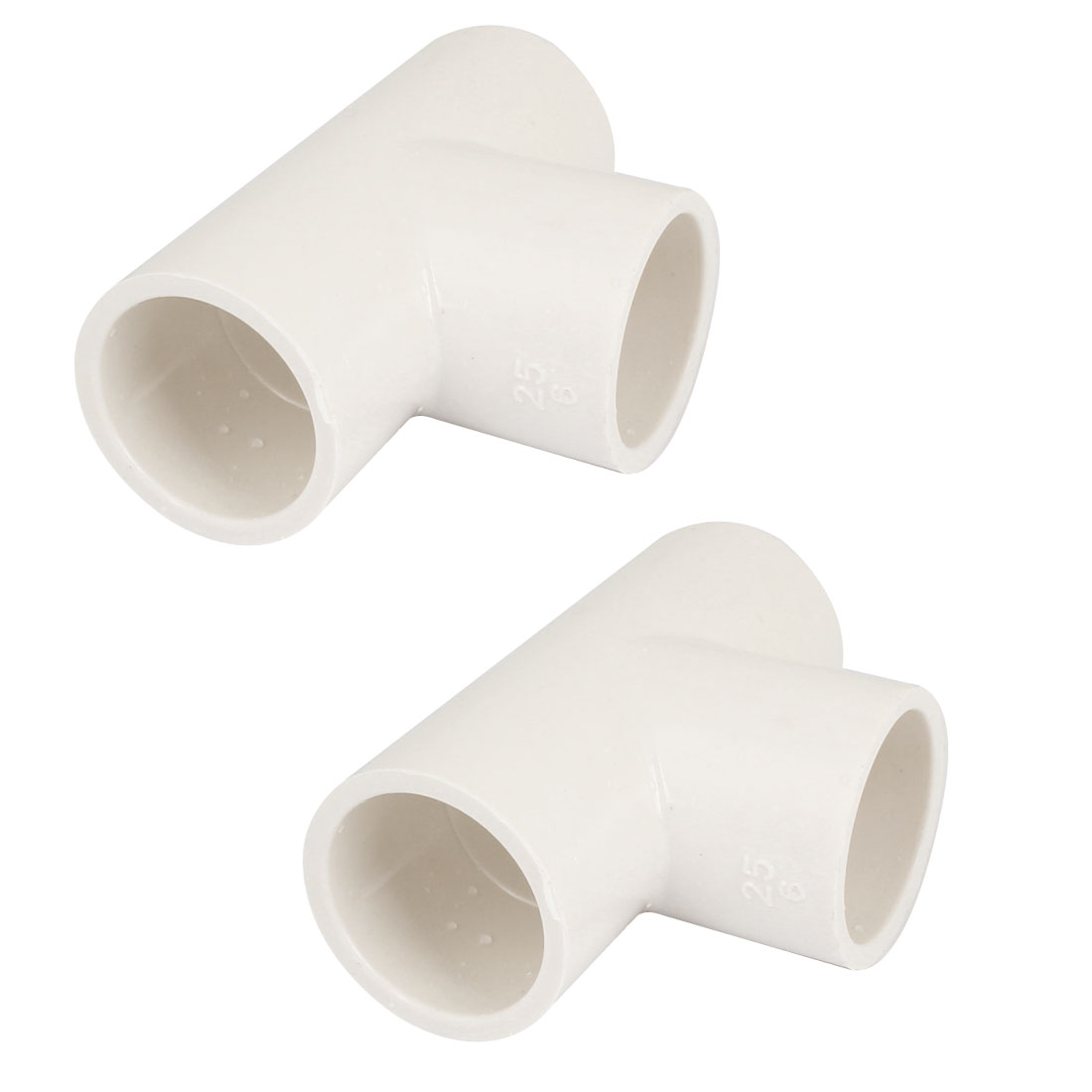 White PVC Three Way Tee Fitting Wire Pipe Connectors 25mm Inner Dia 2 Pcs