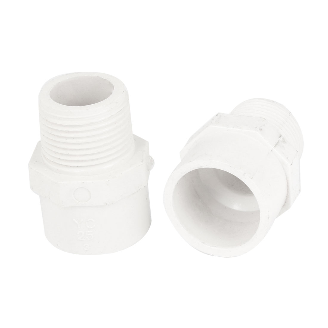 "25mm 3/4"" PT Male Thread White Straight Water Hose Pipe Fitting Connector 2 Pcs"