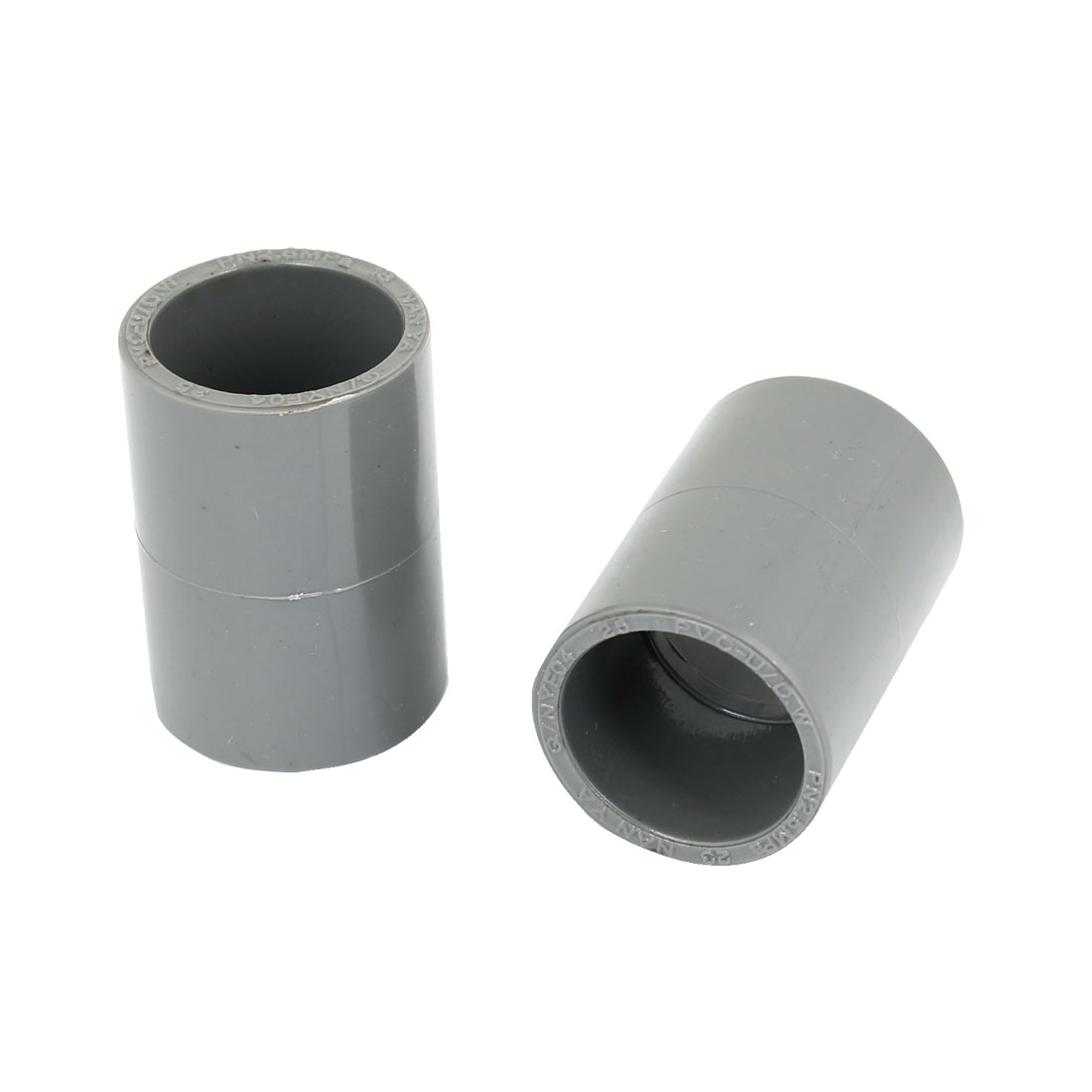 2PCS Replacement 25mm Inner Diameter PVC Straight Pipe Connectors Gray