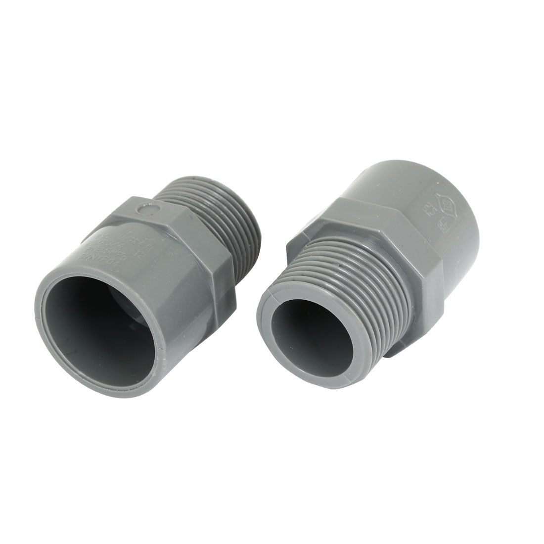 "2pcs 3/4"" PT Male Thread PVC Straight Pipe Tube Adapter Connectors Gray"