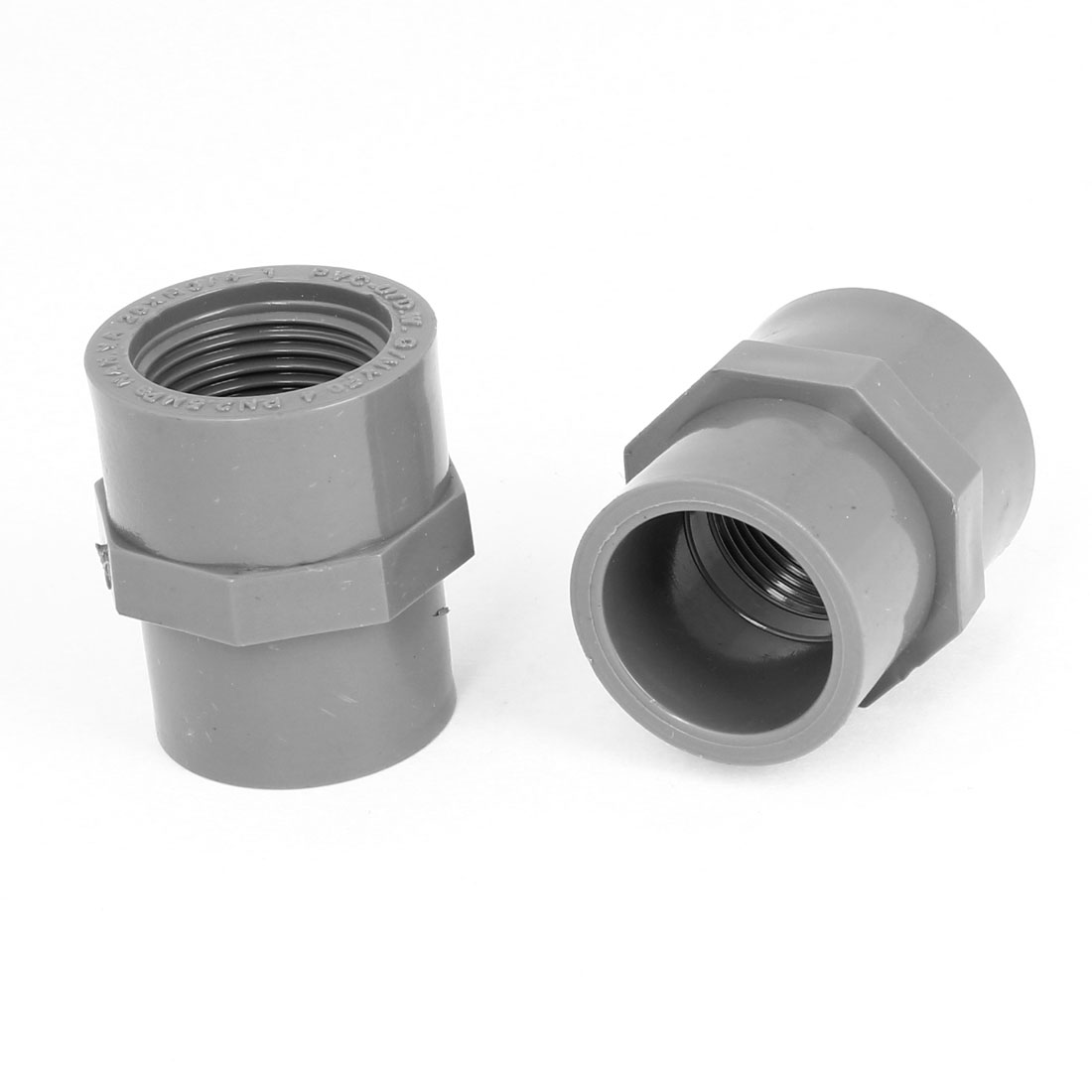 2PCS 25mm Female Threaded PVC Straight Water Hose Piping Connectors Coupler Gray